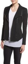 St. John Leather-Trim Shawl-Collar Jacket, Caviar