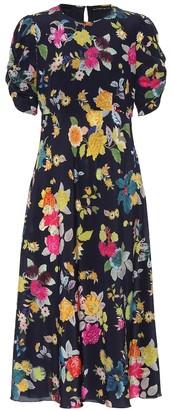 Etro Floral stretch-silk crApe midi dress