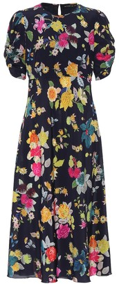 Etro Floral stretch-silk crepe midi dress