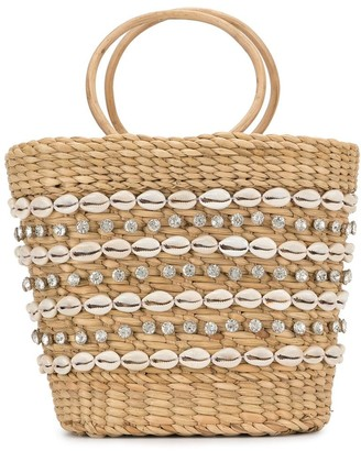 Poolside woven shell tote bag