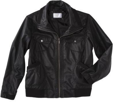 Xhilaration Junior's Plus-Size Faux Leather Bomber Jacket - Black