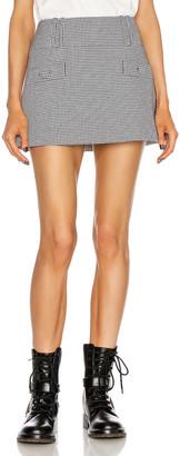 Balmain Short Low-Rise Houndstooth Trapeze Skirt in Noir & Blanc | FWRD