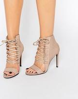 Senso Opal Caramel Leather Eyelet Detail Heeled Sandals