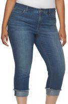 JLO by Jennifer Lopez Plus Size Frayed Roll-Cuff Capri Jeans