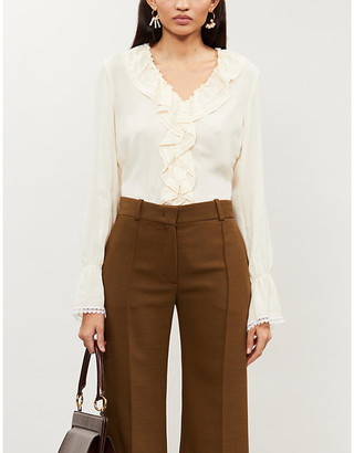 See by Chloe Ruffle-trimmed V-neck chiffon blouse