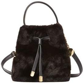Lauren Ralph Lauren Faux Fur Mini Drawstring Bucket Bag