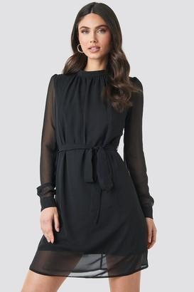 NA-KD High Neck Belted Chiffon Dress