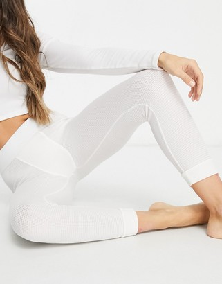 ASOS DESIGN mix & match waffle cuffed pajama legging with elastic waistband in off white