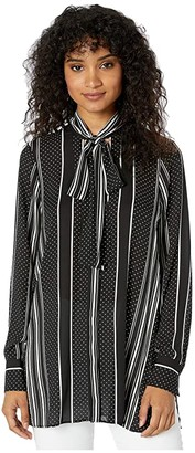 BCBGMAXAZRIA Stripe Tie Neck Woven Top (Black Dots/Stripes) Women's Clothing