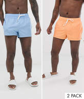 Asos Design ASOS DESIGN 2 pack swim short in pale blue and orange super short length save