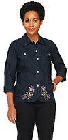 Denim & Co. 3/4 Sleeve Embroidered Jean Jacket