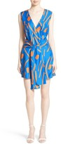 Diane von Furstenberg Women's Tie Front Faux Wrap Silk Dress