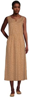 Lands' End Women's Cotton-Blend Sleeveless Midi Shirt Dress