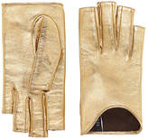Gucci Embroidered metallic leather gloves