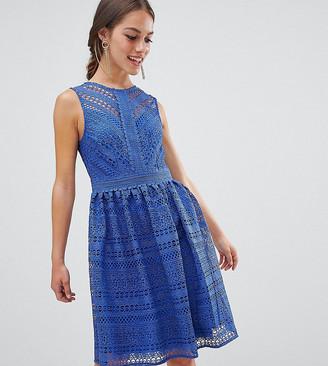 Little Mistress Petite all over lace prom midi skater dress-Blue