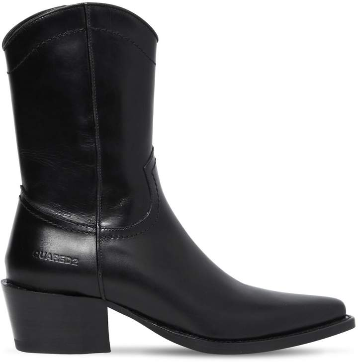 DSQUARED2 50MM ARIZONA LEATHER CROPPED BOOTS