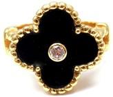 Van Cleef & Arpels 18K Yellow Gold Alhambra Onyx Diamond Ring 4.75