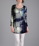 Lily Blue Abstract Scoop Neck Tunic - Plus Too