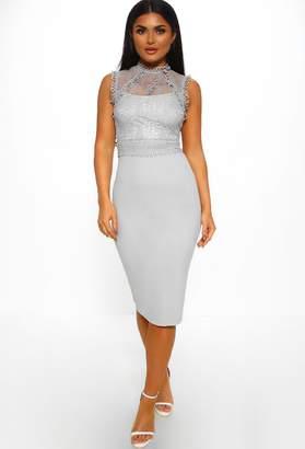 Pink Boutique Our Secret Grey Lace Bodycon Midi Dress