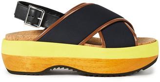Marni Leather-trimmed Color-block Neoprene Platform Sandals