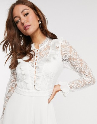 French Connection clandre lace jumpsuit in white