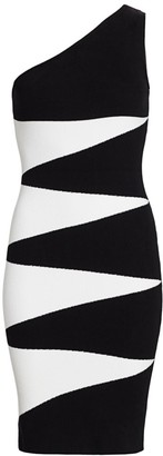 Victor Glemaud One-Shoulder Geometric Bodycon Dress