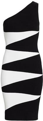Victor Glemaud One-Shoulder Geometric Bodycon Dress