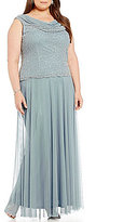 Cachet Plus Mock 2-Piece Caviar Beaded Matte Chiffon Gown