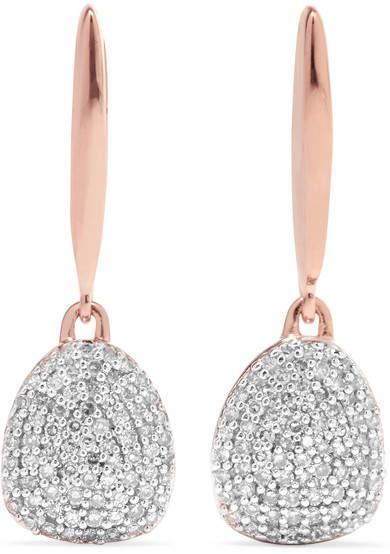 Monica Vinader Nura Rose Gold Vermeil Diamond Earrings