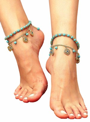 Corafritz Vintage Turquoise Beading Dual-Layered Pendant Anklet Multilayer Boho Starfish Turtle Anklet Beads Sea Bracelet Foot Jewelry for Women