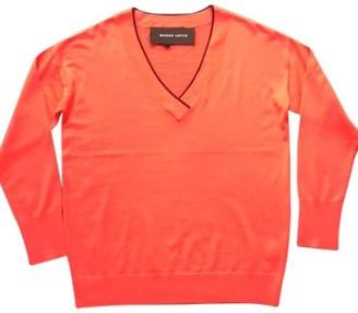 Markus Lupfer Hot Coral Jasmin Merino Wool Jumper - Large - Orange