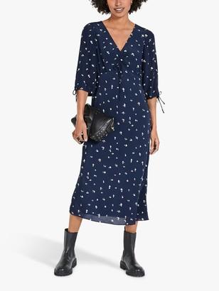 Hush Grace Heart Print Midi Dress, Blue