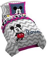 "Disney Mickey Chevron 72"" x 86"" Reversible Twin/ Full Reversible Comforter Set, Pink/Gray"