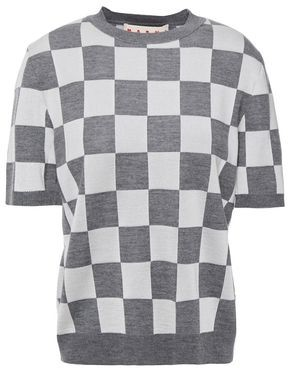 Marni Checked Wool-blend Top