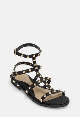 Missguided Black Studded Gladiator Sandals