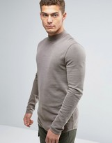 Asos Longline Muscle Long Sleeve T-Shirt With Turtleneck In Waffle Fabric With Pigment Wash