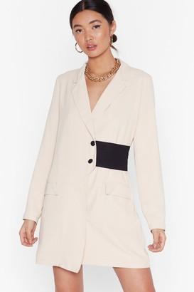 BEIGE Nasty GalNasty Gal Womens Nothing Gets Contrast Me Mini Blazer Dress 6,