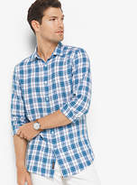 Michael Kors Slim-Fit Check Linen Shirt