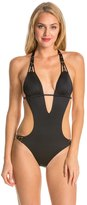Vitamin A Eco Lux Solid Amber Beaded Cut Out One Piece Swimsuit 8134731