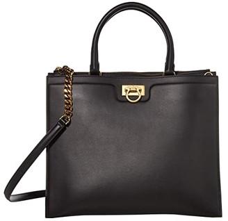 Salvatore Ferragamo Gancio Square Top-Handle (Nero) Handbags