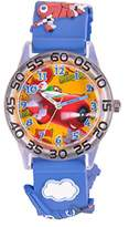 Disney W001297 - Boys' Watch with Planes, Analogue Quartz White Dial and Blue Plastic Strap
