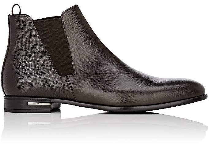 Prada Men's Saffiano Leather Chelsea Boots