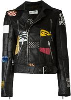 Saint Laurent patchwork biker jacket