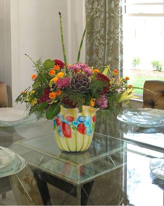 Dale Tiffany Argentina Ruffle Hand-Blown Art Glass Vase