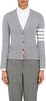 Thom Browne Women's Cashmere Striped-Sleeve Cardigan-Light Grey