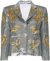 Thom Browne Classic Single Breasted Sport Coat In Organza With Multi Icon Filigree Embroidery