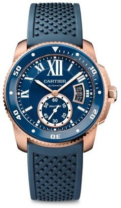 Cartier Calibre de Diver 18K Pink Gold, ADLC Stainless Steel & Rubber Strap Watch