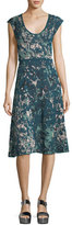 M Missoni Scoop-Neck Floral Jacquard Cap-Sleeve Dress