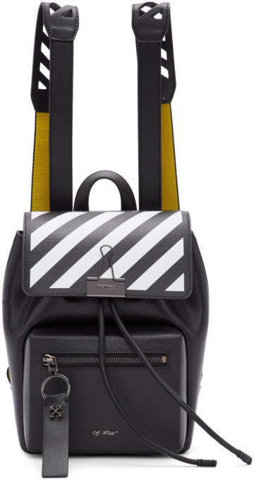 Off-White Black and Yellow Diag Backpack