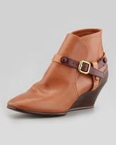 Chloé Low Wedge Bootie with Contrast Harness, Tan